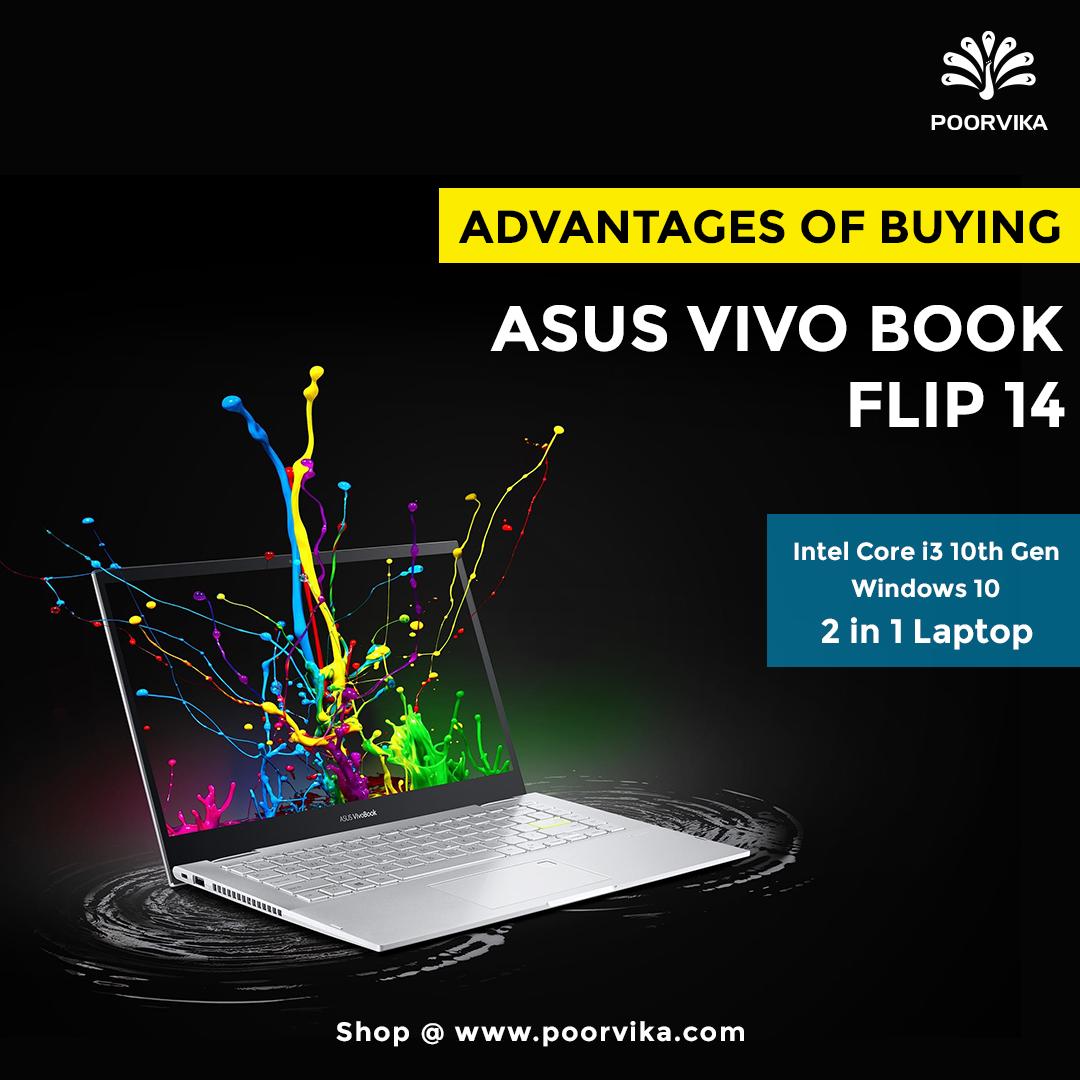 Asus Vivo Book Flip 14 Intel Core i3 10th Gen Windows 10 Home 2 in 1 Laptop